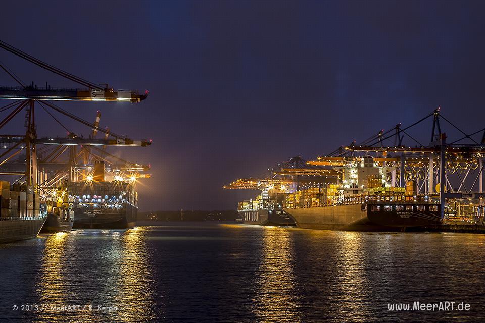 """Containerschiffe am Terminal """"EUROGATE"""" und """"BURCHARDKAI"""" im Hamburger Hafen // Foto: R. Kerpa"""