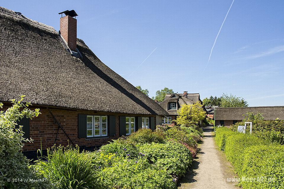 Das Fischerdorf Gothmund bietet mit seinen alten Reetdachhäusern, den kleinen Holzstegen und den Fischerbooten, eine malerische Kulisse // Foto: MeerART