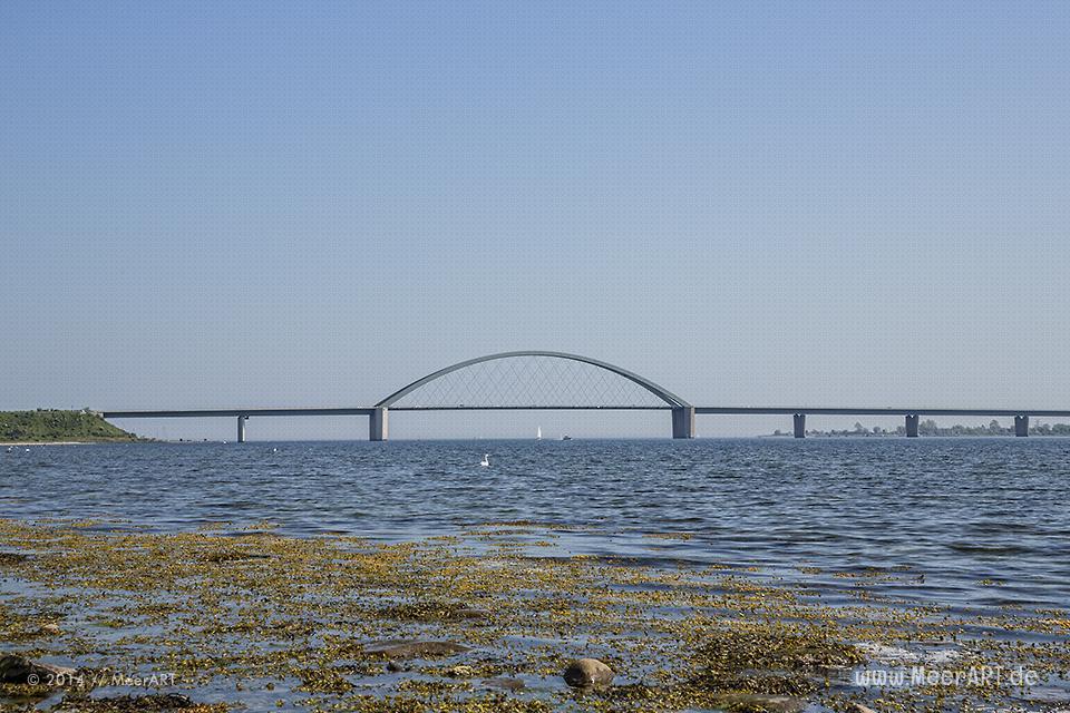 Blick auf die Fehmarnsundbrücke von einem Strandabschnitt am Strukkamphuk aus // Foto: MeerART