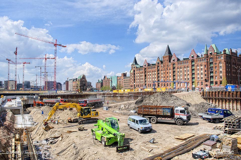 Baustelle in der Hamburger HafenCity // Foto: MeerART