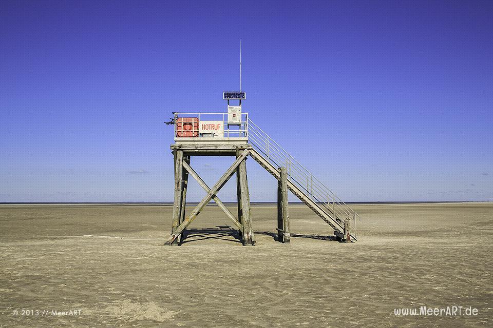 Rettungsturm am Strand von Westerhever // Foto: MeerART