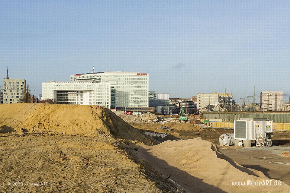 Erdarbeiten auf der Baustelle am Lohsepark in der HafenCity von Hamburg // Foto: MeerART