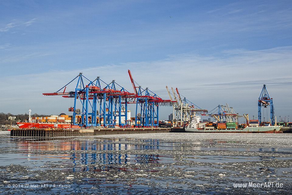 """Containerschiffe am Terminal """"BURCHARDKAI"""" // Foto: R. Kerpa"""