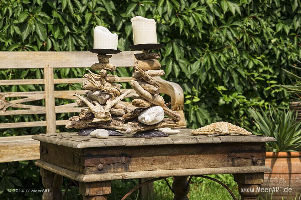 Kerzenständer - Maritime Dekorationen und Wohnaccessoires aus Strandgut von C. Kerpa // Foto: MeerART