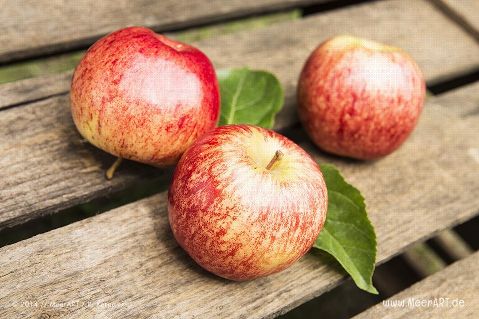 Äpfel auf Obstkiste