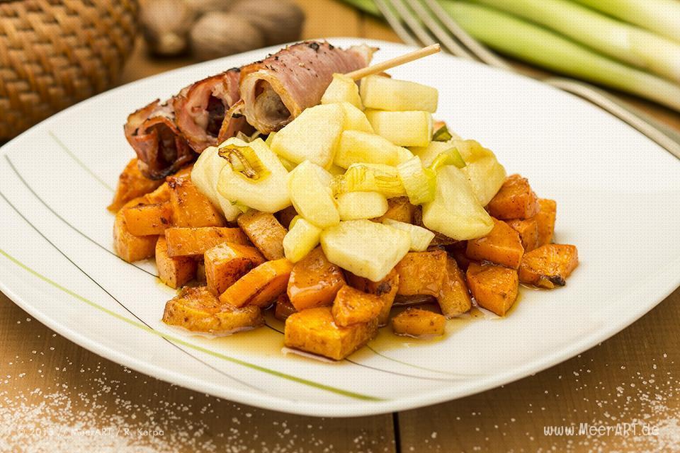 Süßkartoffel mit Apfel, Lauch und Schinkenröllchen // Foto: R. Kerpa
