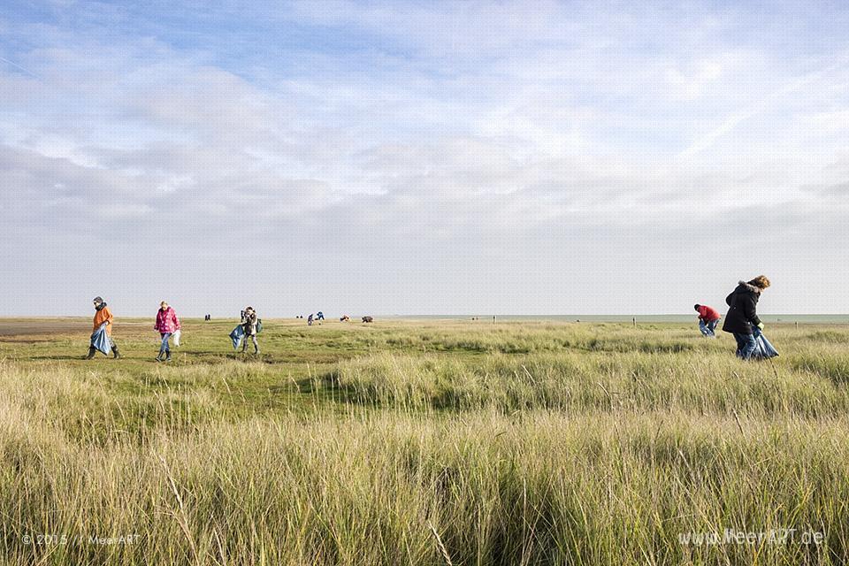Watt'n Müll - Sammelaktion Westerhever zum 30. Geburtstag vom Nationalpark Wattenmeer // Foto: MeerART