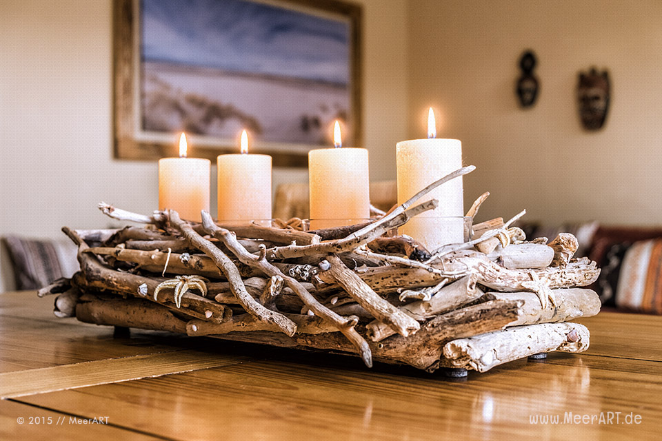 Kerzenleuchter aus Strandgut zum 4 Advent // Foto: MeerART