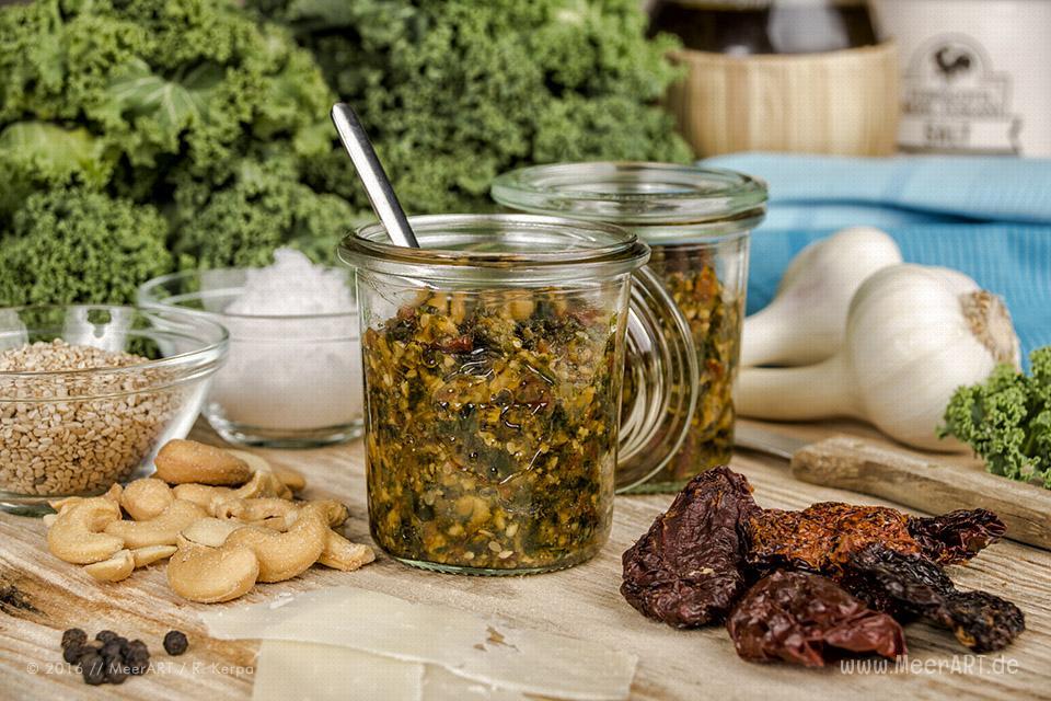 Rezept-Tipp: Grünkohl-Pesto à la MeerART // Foto: Ralph Kerpa