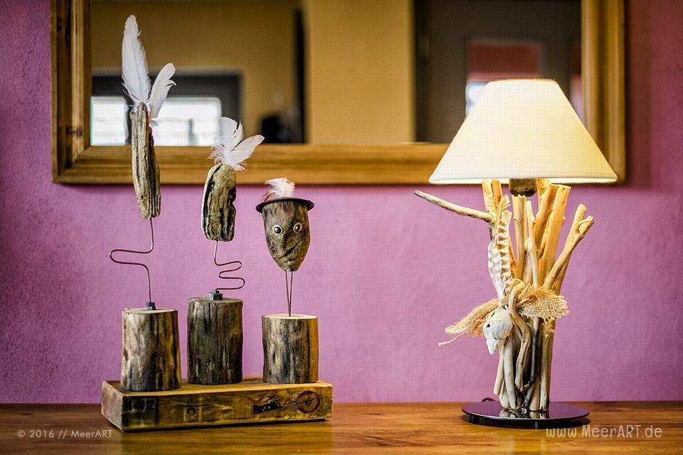 """Lampe aus Strandgut mit """"Strandtrolle"""" // Foto: MeerART"""