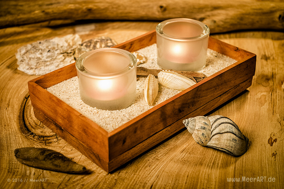 Kerzenleuchter aus recyceltem Holz // Foto: MeerART