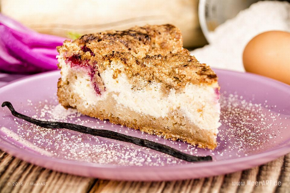 Rezept-Tipp: Quarkkuchen mit Himbeeren // Foto: MeerART / Ralph Kerpa