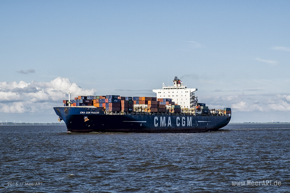 Das Containerschiff CMA CGM PUCCINI - IMO 928062 // Foto: MeerART