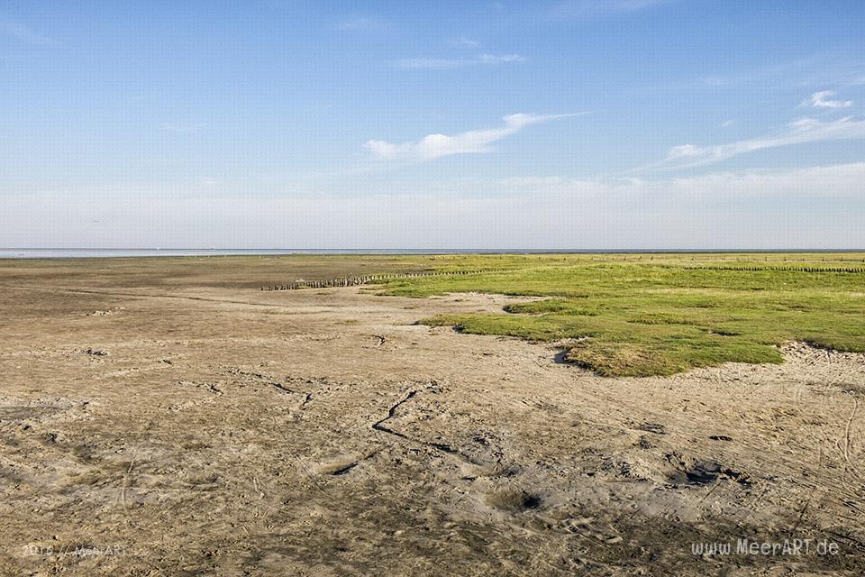 Ein sonniger Sommervormittag an der Nordsee im Watt und auf der Sandbank vor Westerhever // Foto: MeerART