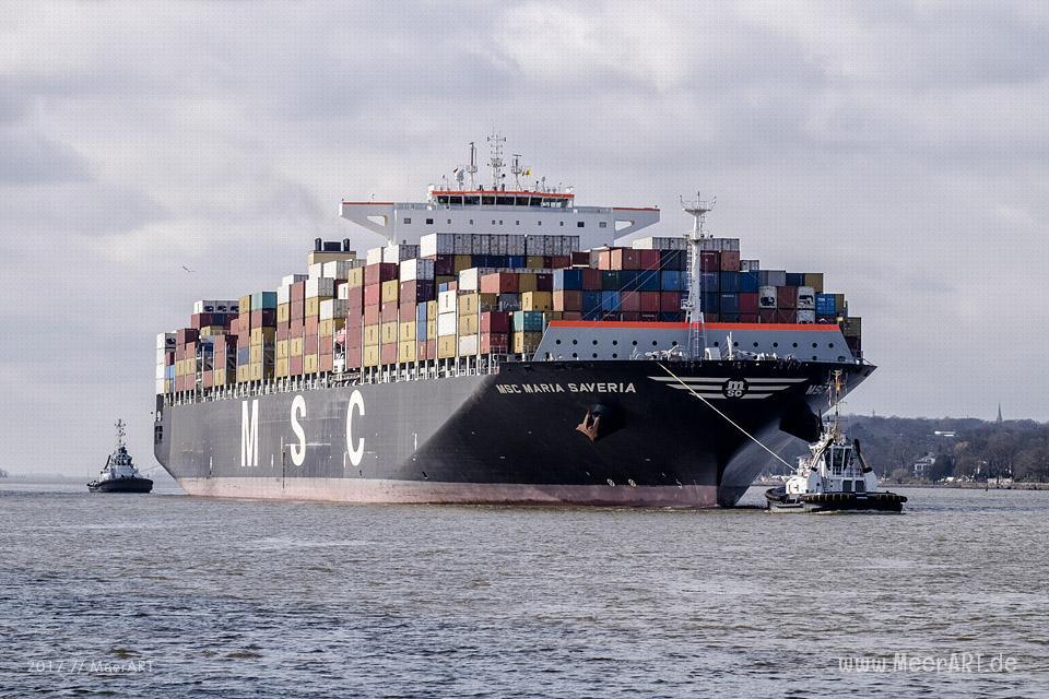 "Das Containerschiff ""MSC MARIA SAVERIA"" - IMO 9467421 // Foto: MeerART"