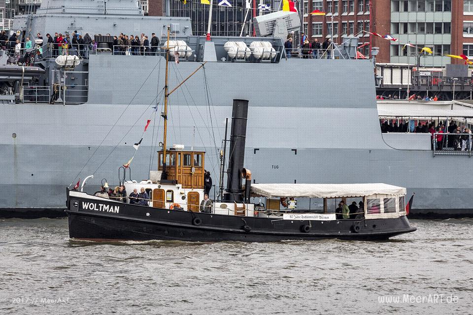 """Der Schleppdampfer """"WOLTMAN"""" auf dem Hamburger Hafengeburtstag 2014 // Foto: MeerART"""