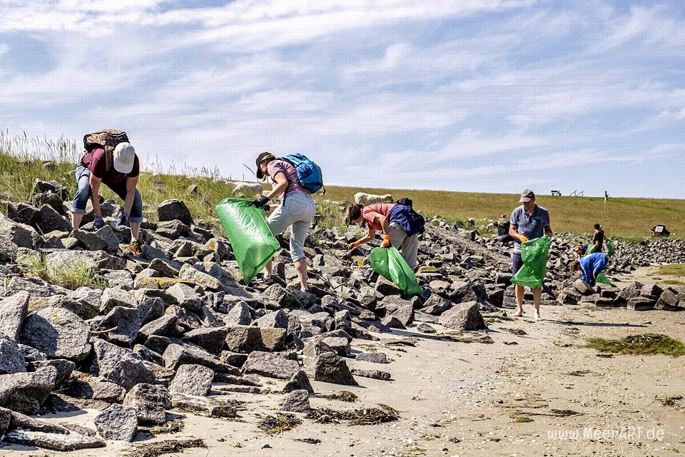 Müllsammelaktion beim Nordfriesland Daag am 14.07.2017 in Westerhever zwischen Stufhusen und der Lammerswarft // Foto: MeerART / R. Kerpa