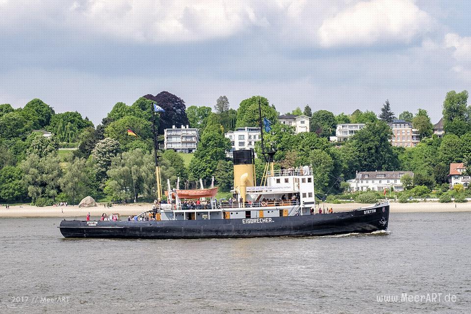 """Der Dampfeisbrecher """"STETTIN"""" am 20.05.2017 auf der Elbe vor dem Hans-Leip-Ufer // Foto: Ralph Kerpa"""